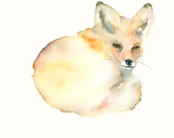 Resting Fox Original Watercolor Painting