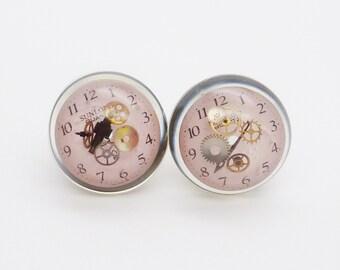 "Steampunk Ear Plugs, 9/16"" Ear Gauges * Handmade resin & clear UV acrylic plugs"