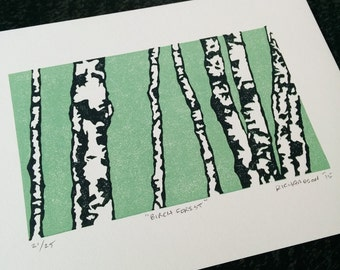 "Original reduction linocut block print: ""Birch Forest"" - limited edition hand pulled fine art block print, linocut print (5 x 7"" - unframed)"