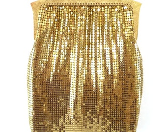 Gold Mesh Evening Bag Purse Whiting & Davis Vintage Handbag Long Chain Handle
