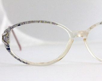 Vintage 80's Blue Oval Eyeglass Frames