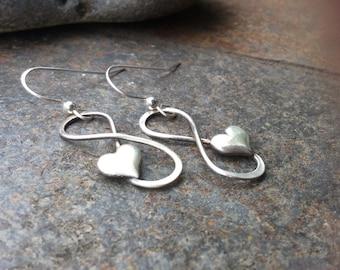 Sterling silver jewelry,  Infinity heart earrings