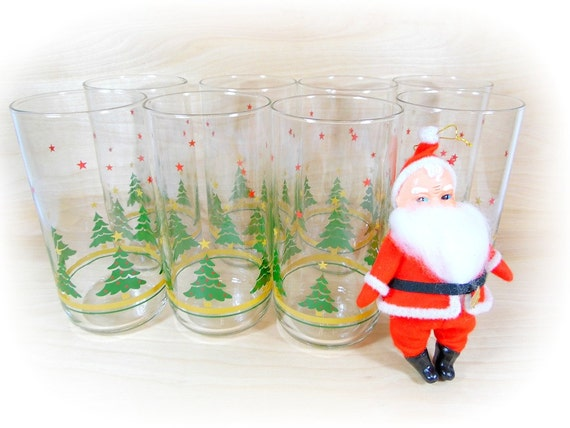 Vintage Christmas Drinking Glasses Holiday Glassware Set
