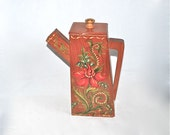 Tole Hand-Painted Wooden Pitcher for Detergent 1940s Lovely