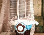 Light Blue and Brown Flower Girl Basket, Cottage Chic, Summer or Fall Wedding by Green Orchid DS.
