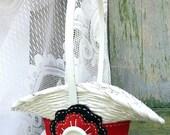 Black and Red Flower Girl Basket, Felt Flower Basket, Cottage Chic, Wedding Decor, by Green Orchid DS.