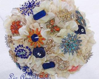 Silk CORAL, NAVY, Orange, Champagne, Cream BROOCH Bouquet, Jeweled Bridal Bouquet, Bridal Broach Bouquet, Wedding Brooch Bouquet, Custom