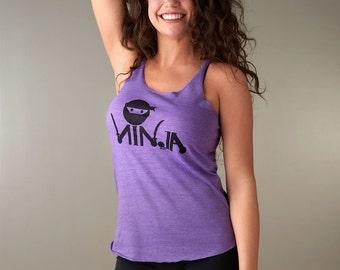 NINJA Workout Tank, Tank Tops for Women, Organic Tank Top, Racer Back Tank Top for Women,