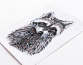 Raccoon 8x10 Art Print - Woodland Giclée Print