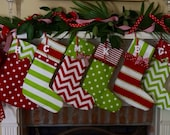 Christmas stocking, Christmas stockings, personalized in bright red and green cotton