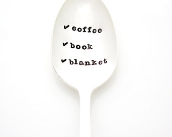Coffee, Book, Blanket. Relaxation Gifts, Stamped Coffee Spoon.