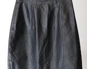 90s High-Waisted Black Leather Skirt