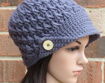 Crochet Newsboy Hat - Steel Grey Newsboy Hat - Womens Brimmed Beanie Hat with Buttons - Winter Crochet Hat // THE EMERSON //