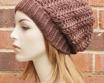 Womens Slouchy Hat - Bark Brown Slouchy Beanie - Crochet Slouchy Hat - Ribbed Beanie Hat - Winter Accessories // THE HARPER//