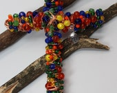 """6"""" Beaded Wall Cross.  Made with multi color glass beads and crystal on copper with a Hope charm"""