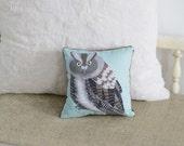 SALE Northern Screech Owl Pillow / Owl Plush / Mint Green / Plushie / Accent Pillow / Bird Illustration / Woodland