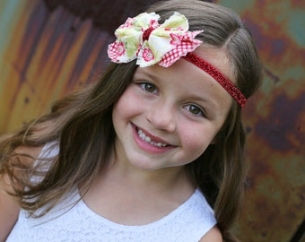 Red Gingham & Yellow Floral Fabric Bow Headband -  Red Headband - Glitter Headband - Floral - Newborn Infant Baby Toddler Girls -