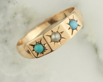 Victorian Seed Pearl and Turquoise Ring in 14k Yellow Gold