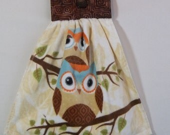 Hanging Kitchen Towel, Kitchen Towel with Owl, Owl Hanging Kitchen Towel