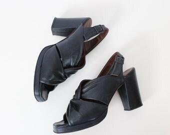 vintage 50s platform heels / 1950s black leather heels / stacked leather heels / slingback heels / open toe heels