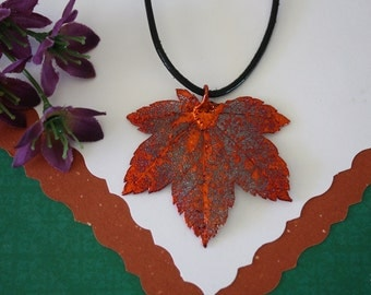 SALE Leaf Necklace, Copper Full Moon Maple Leaf, Real Maple Leaf Necklace, Copper Leaf Pendant, SALE129