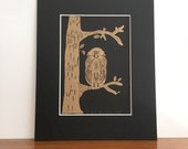 Owl in Gold A5 Art Print - Owl Poster - Riso Print - Owl Wall Art - Home Decor - Owl Illustration Art Print - Art Deco - Matted