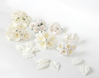 Set of White paper flowers and leaves / mulberry paper flowers and leaves