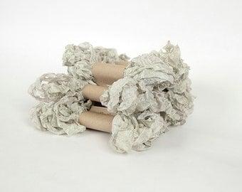 5 m - 5.4 yards - PLATINUM Shabby Wrinkled Ribbon - Crinkled Seam Binding Ribbon