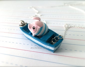 Sailing Pig Necklace. Cute Teacup Pig in Little Blue Boat Necklace. Summer. Beach. Sailing. Blue. Kawaii. Cuteness. Statement Necklace.