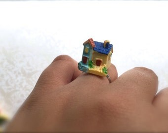 Miniature House Ring. Resin Ring. Cute Kawaii Miniature Fairy Home. Blue. Yellow. Woodland. Silver. Vintage Style. Resin. Under 10. Gnome.