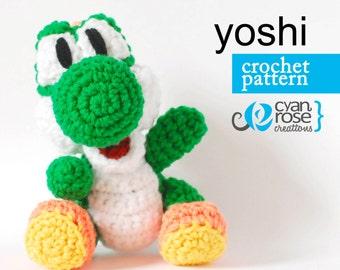 Yoshi Crochet Pattern - Instant Download - Yoshi from Woolly World - amigurumi CROCHET PATTERN - DIY