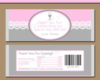 First Communion Chocolate Bar Wrappers - Printable Candy Wrappers - Catholic Party Favors Gift - First Communion Decorations - Pink & Gray