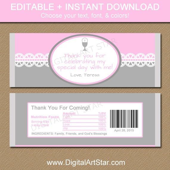 first communion chocolate bar wrappers by digitalartstar