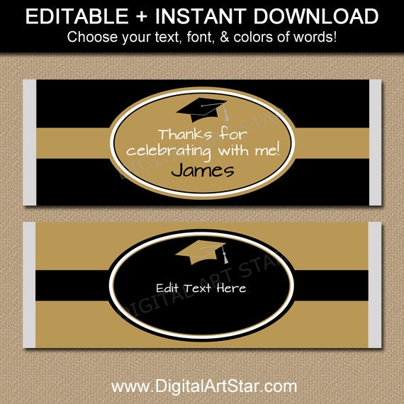 black and gold graduation candy wrappers by digitalartstar
