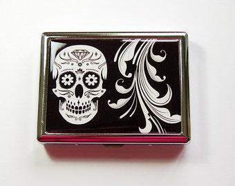 Cigarette Case, Metal cigarette case, Cigarette box, Skull, Day of the Dead, black, white, Sugar Skull, Día de Muertos (4911)