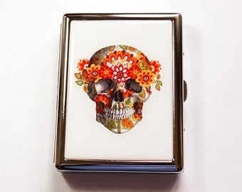 Skull Cigarette Case, Cigarette box, Dia de los Muertos, Cigarette box, Skull with Flowers, Flower Child Skull, Day of the Dead (4934)