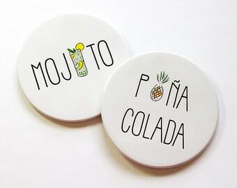 Drink Coasters, Coasters, Mojito, Pina Colada, Set of Coasters, Hostess Gift, Housewarming Gift, Stocking Stuffer (5043b)