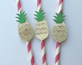 10 Gold Pineapple Straws on Hot Pink Paper Straws.  Destination Wedding.  Engagement Party.  Hawaiian Luau Decoration.  Tropical Drinks