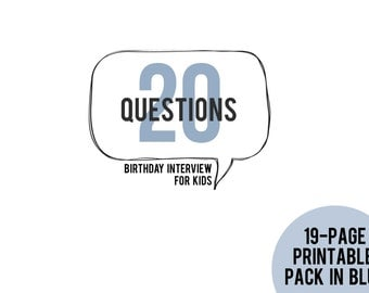 20 Questions Birthday Interview for Kids Printable Pack in BLUE