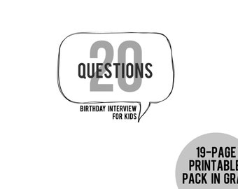 20 Questions Birthday Interview for Kids Printable Pack in GRAY