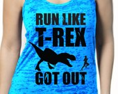 Womens Run Like T-Rex Got Out Racer Back TANK funny, dino, motivation t-shirt, working out, jurrasic park world, stylish, running S-2XL