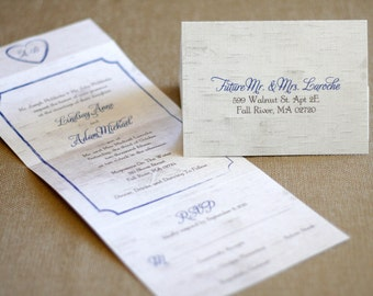 seal and send wedding invitation birch tree white and blue - Seal And Send Wedding Invitations