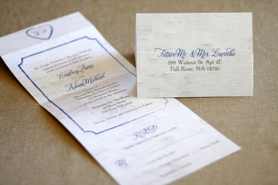Seal and Send Wedding Invitation- Birch Tree- White and Blue