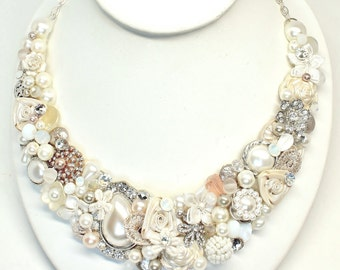 Champagne Pink Statement Necklace-Bridal Statement Necklace- Pearl Bib Necklace- Floral Bridal Bib- Rhinestone and Pearl Bib-Brass Boheme