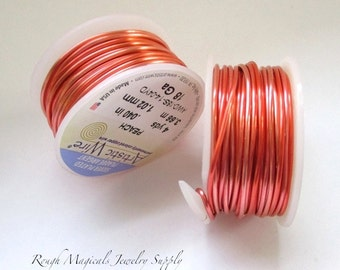 Artistic Wire, 18g Wire, 18 Gauge Wire, Peach Silver Plated Copper Wire, 4 Yards, Dead Soft Wire, Made in USA, Art & Craft Wire,