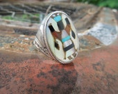Navajo Inlaid Kachina Dancer Sterling Silver Ring RHB Roland Hogan Begay Native American Size 11 Inlay