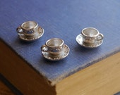 6 pcs Antique Silver Tea Cup and Saucer Charms 3D (SC2497)