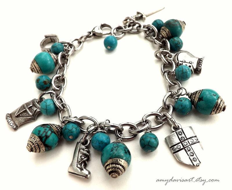 armor of god charm bracelet turquoise ephesians 6