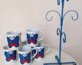 Vintage 1960 ceramic mugs butterfly set 6 with tree blue stand made in Japan