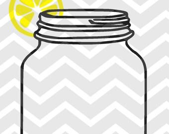 Mason Jar with Lemon Digital Download